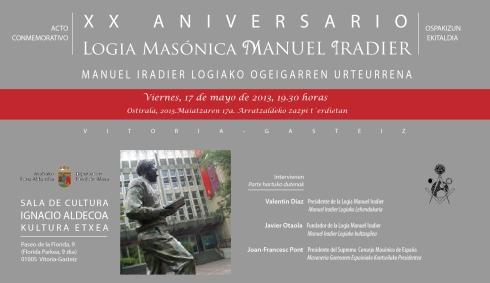 Tarjeta Aniversario Logia Manuel Iradier.